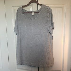 NWT! Old Navy Luxe S/S Black + White Striped Top